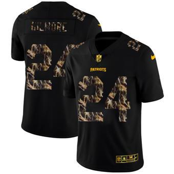 Men's New England Patriots #24 Stephon Gilmore Black Flocked Lightning Vapor Limited Football Jersey