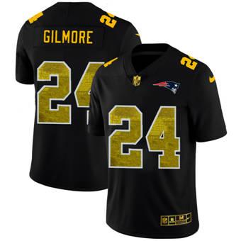 Men's New England Patriots #24 Stephon Gilmore Black Golden Sequin Vapor Limited Football Jersey
