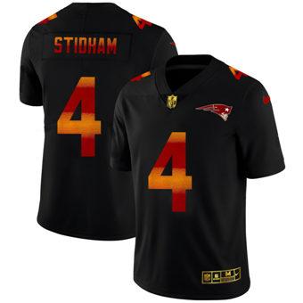 Men's New England Patriots #4 Jarrett Stidham Black Red Orange Stripe Vapor Limited Football Jersey