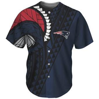 Men's New England Patriots Navy Baseball Jersey