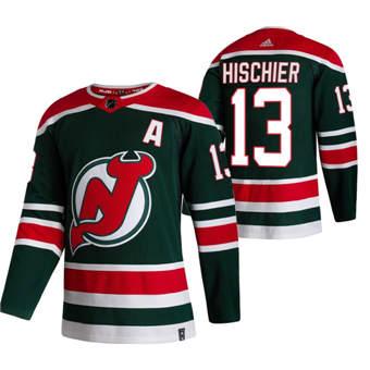 Men's New Jersey Devils #13 Nico Hischier Green 2020-21 Reverse Retro Alternate Hockey Jersey