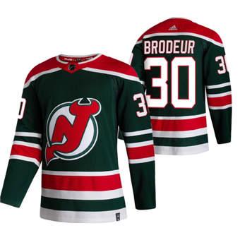 Men's New Jersey Devils #30 Martin Brodeur Green 2020-21 Reverse Retro Alternate Hockey Jersey