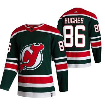 Men's New Jersey Devils #86 Jack Hughes Green 2020-21 Reverse Retro Alternate Hockey Jersey