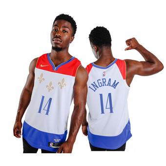 Men's New Orleans Pelicans #14 Brandon Ingram White City Edition New Uniform 2020-21 Stitched Basketball Jersey