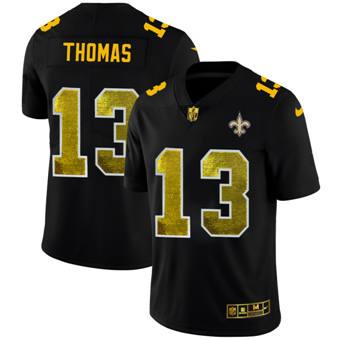 Men's New Orleans Saints #13 Michael Thomas Black Golden Sequin Vapor Limited Football Jersey