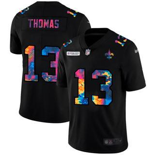 Men's New Orleans Saints #13 Michael Thomas Multi-Color Black 2020 Football Crucial Catch Vapor Untouchable Limited Jersey