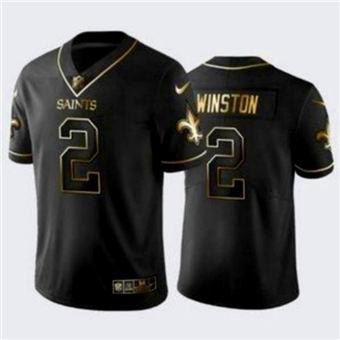 Men's New Orleans Saints #2 Jameis Winston Black Gold Stitched Jersey