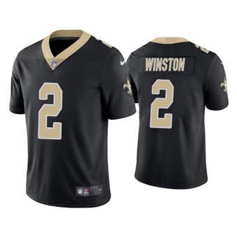 Men's New Orleans Saints #2 Jameis Winston Black Vapor Untouchable Limited Stitched Football Jersey