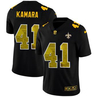 Men's New Orleans Saints #41 Alvin Kamara Black Golden Sequin Vapor Limited Football Jersey