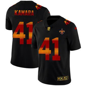 Men's New Orleans Saints #41 Alvin Kamara Black Red Orange Stripe Vapor Limited Football Jersey