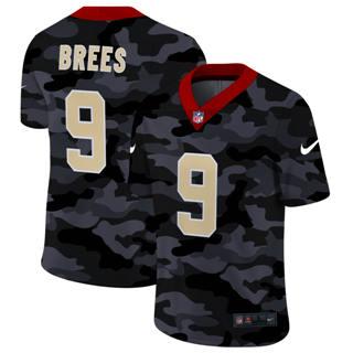 Men's New Orleans Saints #9 Drew Brees 2020 Black CAMO Vapor Untouchable Limited Stitched Football Jersey