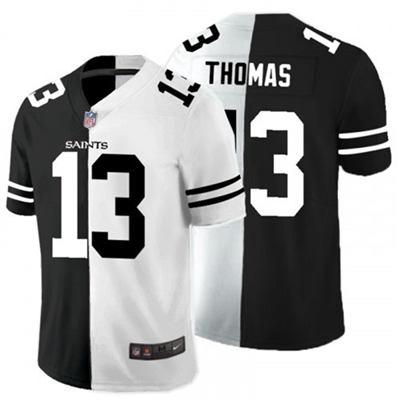 Men's New York Giants #13 Michael Thomas Black White Split 2020 Stitched Football Limited Jersey