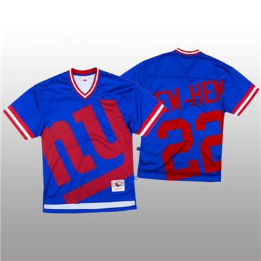 Men's New York Giants #22 Wayne Gallman Blue Mitchell & Nell Big Face Fashion Limited Football Jersey