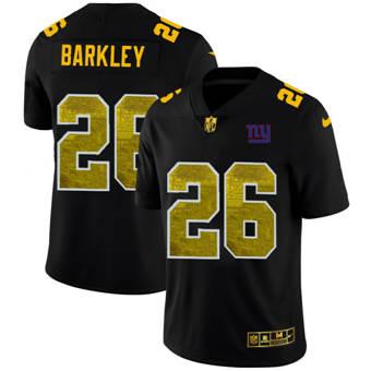 Men's New York Giants #26 Saquon Barkley Black Golden Sequin Vapor Limited Football Jersey