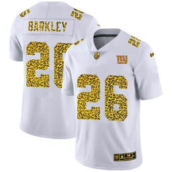 Men's New York Giants #26 Saquon Barkley Flocked Leopard Print Vapor Limited Football Jersey White