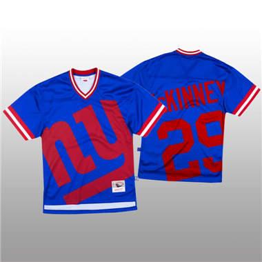 Men's New York Giants #29 Xavier McKinney Blue Mitchell & Nell Big Face Fashion Limited Football Jersey