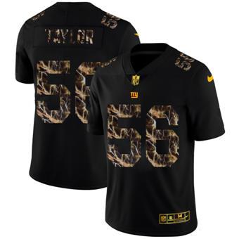 Men's New York Giants #56 Lawrence Taylor Black Flocked Lightning Vapor Limited Football Jersey