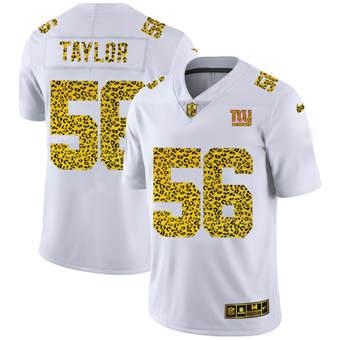 Men's New York Giants #56 Lawrence Taylor Flocked Leopard Print Vapor Limited Football Jersey White