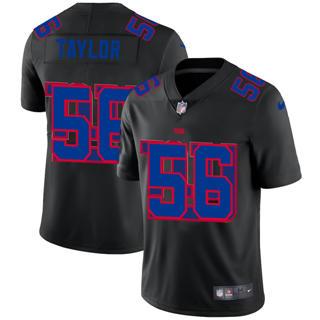Men's New York Giants #56 Lawrence Taylor Team Logo Dual Overlap Limited Football Jersey Black