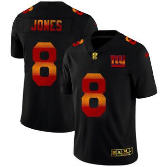 Men's New York Giants #8 Daniel Jones Black Red Orange Stripe Vapor Limited Football Jersey