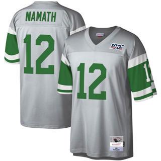Men's New York Jets #12 Joe Namath Mitchell & Ness Football 100th Season Retired Player Platinum Jersey