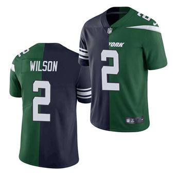 Men's New York Jets #2 Zach Wilson 2021 Green Navy Split Stitched Football Jersey