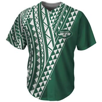 Men's New York Jets Green Baseball Jersey