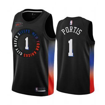 Men's New York Knicks #1 Bobby Portis Black City Edition New Uniform 2020-21 Stitched Basketball Jersey