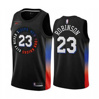 Men's New York Knicks #23 Mitchell Robinson Black City Edition New Uniform 2020-21 Stitched Basketball Jersey