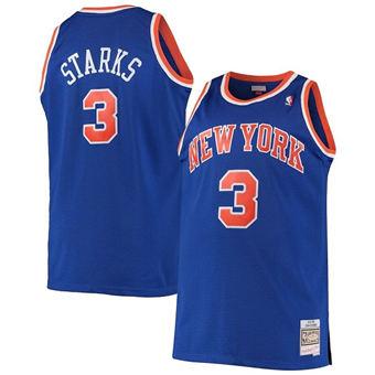 Men's New York Knicks #3 John Starks Blue Throwback Stitched Basketball Jersey