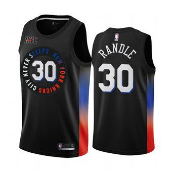 Men's New York Knicks #30 Julius Randle Black City Edition New Uniform 2020-21 Stitched Basketball Jersey
