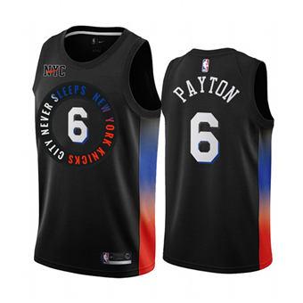 Men's New York Knicks #6 Elfrid Payton Black City Edition New Uniform 2020-21 Stitched Basketball Jersey
