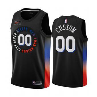 Men's New York Knicks Active Player Custom Black City Edition 2020-21 Stitched Basketball Jersey