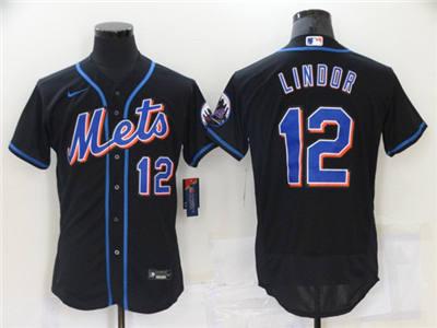 Men's New York Mets #12 Francisco Lindor Black Flex Base Stitched Baseball Jersey