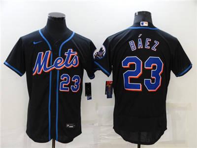 Men's New York Mets #23 Javier Báez Black Flex Base Stitched Baseball Jersey