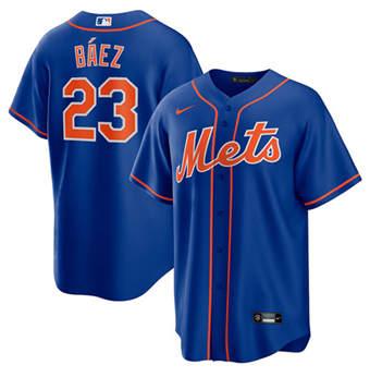 Men's New York Mets #23 Javier Báez Royal Cool Base Stitched Baseball Jersey