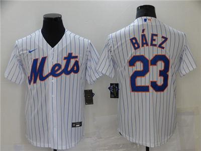 Men's New York Mets #23 Javier Báez White Cool Base Stitched Baseball Jersey