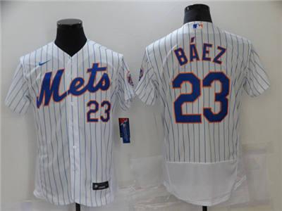 Men's New York Mets #23 Javier Báez White Flex Base Stitched Baseball Jersey