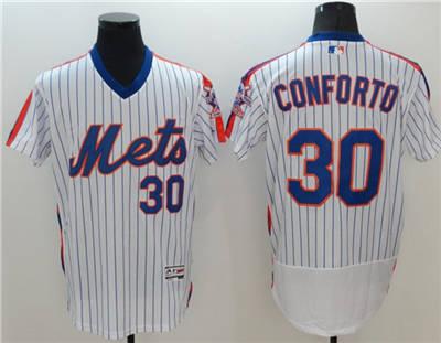 Men's New York Mets #30 Michael Conforto White Flex Base Stitched Baseball Jersey
