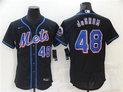 Men's New York Mets #48 Jacob deGrom Black Flex Base Stitched Baseball Jersey