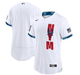 Men's New York Mets Blank 2021 White All-Star Flex Base Stitched Baseball Jersey