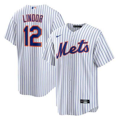 Men's New York Mets White #12 Francisco Lindor Cool Base Stitched Baseball Jersey