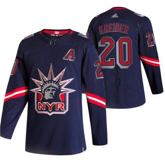Men's New York Rangers #20 Chris Kreider Navy 2020-21 Reverse Retro Alternate Hockey Jersey
