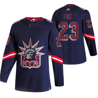 Men's New York Rangers #23 Adam Fox Navy 2020-21 Reverse Retro Alternate Hockey Jersey