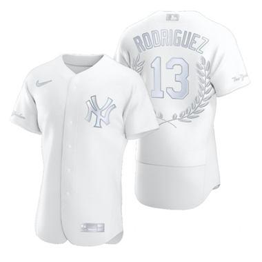 Men's New York Yankees #13 Alex Rodriguez Platinum Baseball MVP Limited Player Edition Jersey