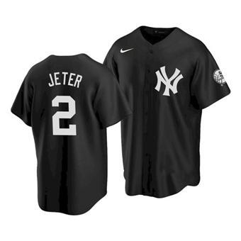 Men's New York Yankees #2 Derek Jeter 2021 Black Cool Base Stitched Baseball Jersey
