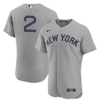 Men's New York Yankees #2 Derek Jeter 2021 Gray Field of Dreams Flex Base Stitched Baseball Jersey
