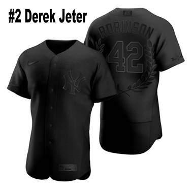 Men's New York Yankees #2 Derek Jeter Black Baseball MVP Limited Player Edition Jersey