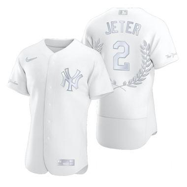 Men's New York Yankees #2 Derek Jeter Platinum Baseball MVP Limited Player Edition Jersey
