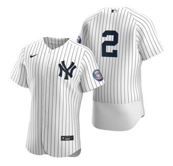 Men's New York Yankees #2 Derek Jeter White 2020 Hall of Fame Induction Flex Base Stitched Baseball Jersey